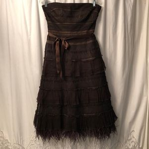 BCBG brown lacy and feather dress